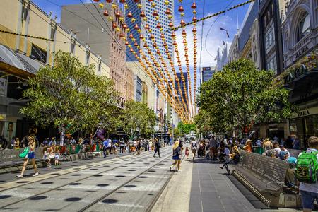 Melbourne, Australia - December 16, 2017: Bourke street during Christmas time