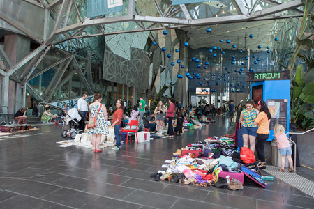 Melbourne, Australia - December 16, 2017:  Flea market at Ian Potter Centre, Melbourne Downtown Editorial