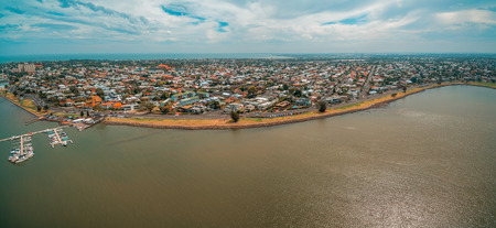 Aerial panoramic view of Williamstown coastal suburb and yacht club in Melbourne, Australia