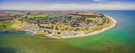 Aerial panoramic landscape of Werribee South colastline on bright summer day Banco de Imagens