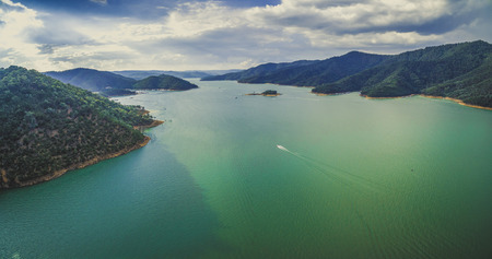 Aerial panorama of beautiful lake in the mountains Stock Photo