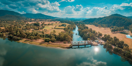 Beautiful aerial panoramic landscape of river and Lake in Australia on bright summer day
