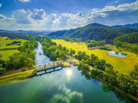 Beautiful lake and river in Australia - aerial landscape