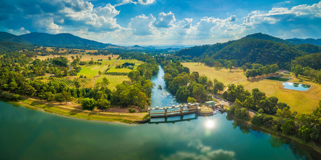 Aerial panorama of Goulburn River entering Lake Eildon in Melbourne, Australia