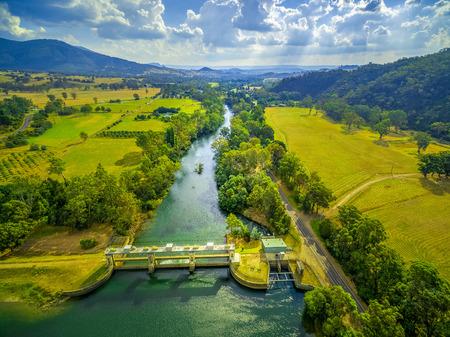 Aerial landscape of Goulburn River. Eildon, Victoria, Australia