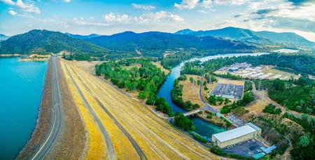 Goulburn River and Lake Eildon Dam - scenic aerial panorama