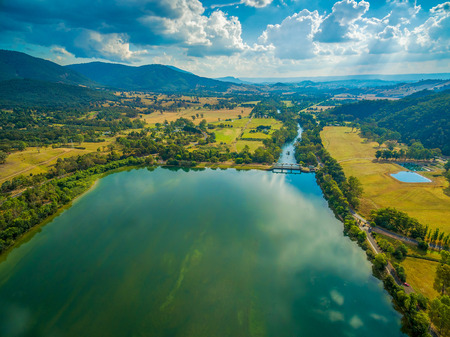 Aerial landscape of beautiful lake on bright summer day