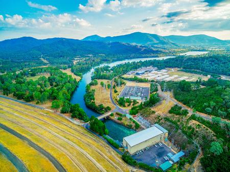 Goulburn River and Lake Eildon Dam - aerial view