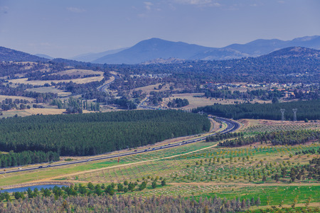 Winding highway through mountains and countryside in Canberra, ACT, Australia