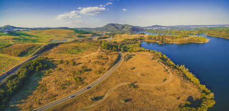 Aerial view of Molonglo river and scenic countryside near Canberra, Australia