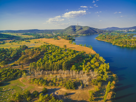 Aerial view of Molonglo river and iconic Telstra tower in Canberra, Australia