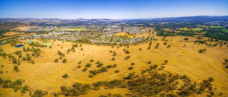 Aerial panoramic landscape of Wodonga - town in Victoria, Australia Stock fotó