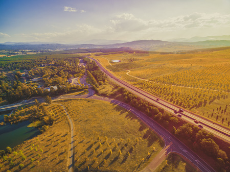 Aerial landscape of scenic countryside in Canberra, Australia Stok Fotoğraf