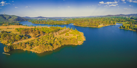 Aerial panorama of iconic lake Burley Griffin in Canberra, Australia