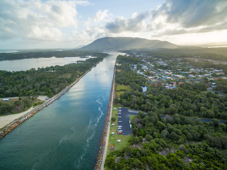 Aerial view of North Haven and Camden Haven Inlet. New South Wales, Australia Stock Photo