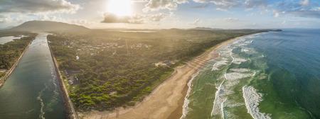 Beautiful aerial landscape of ocean coastline at sunset in Australia