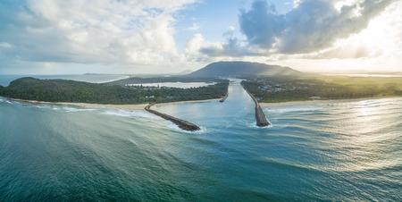 Aerial landscape of North Haven coastline. New South Wales, Australia
