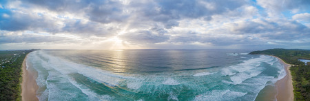 Aerial view of beautiful sunset over Ocean coastline near Byron Bay, New South Wales, Australia Stock Photo