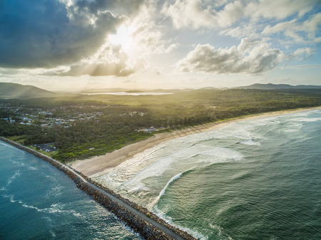 Ocean coastline at sunset in New South Wales, Australia