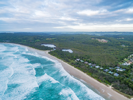 Aerial view of beautiful ocean coastline near Suffolk Park, New South Wales, Australia Stock Photo