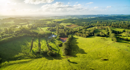 Aerial panorama - meadows and pastures at sunset