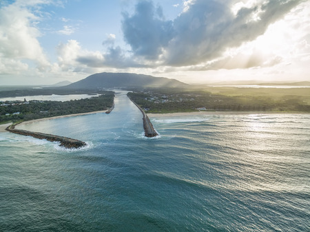 Aerial view of Camden Haven Inlet at sunset in New South Wales, Australia