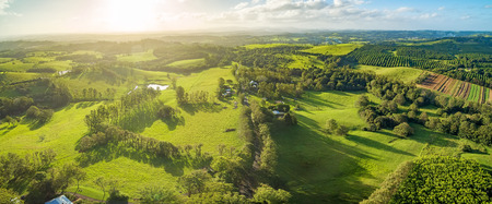 Aerial landscape of countryside at sunset