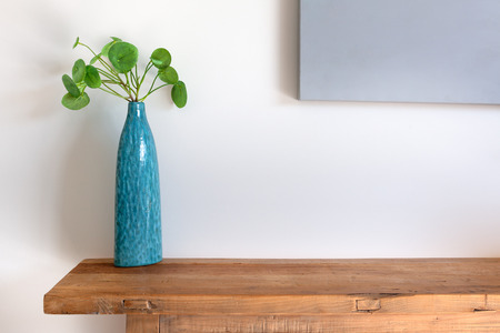 Chinese Money Plant in a blue vase on wooden side table against white wall with copy space Stock Photo