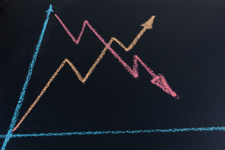 Line graph shoing upward and downward trends drawn with chalk on blackboard in perspective with copy space