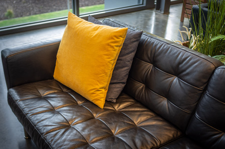 Pillows on black leather couch - interior design sample
