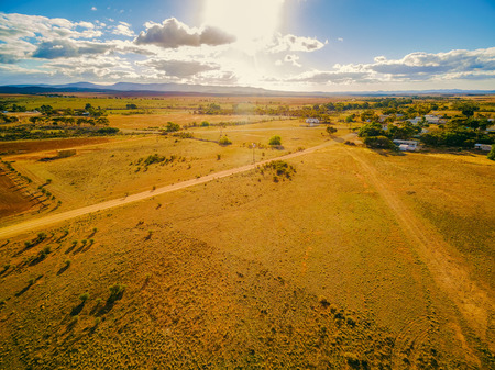 Aerial view of sunset over Flinders Ranges in South Australia
