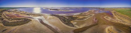 Panorama of scenic shallow pink lake Tyrrell in Victoria, Australia Stock Photo