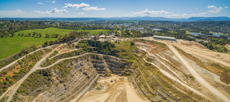 Decommissioned limestone mine in Melbourne, Australia - wide aerial panorama