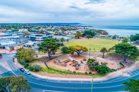 Aerial view of playground and park near Mornington Pier in Melbourne, Australia Фото со стока