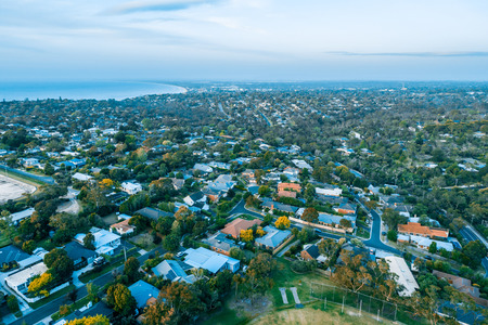 Coastal living - aerial view of residential area on Mornington Peninsula, Victoria, Australia