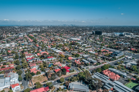 Aerial view of urban area in Oakleigh suburb in Melbourne Australia