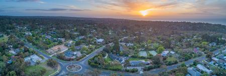 Aerial panorama of Frankston South suburb at sunset. Melbourne, Victoria, Australia