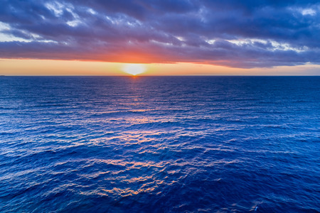 Nothing but sunset over water - aerial view