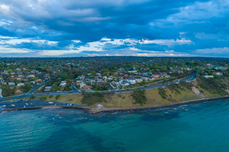 Aerial view of Oliver's Hill overlooking the Port Phillip Bay at sunset. Melbourne, Victoria, Australia Stock Photo