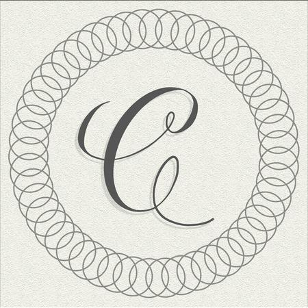 Capital letter C calligraphy on textured paper illustration for branding and packaging Standard-Bild - 117905346