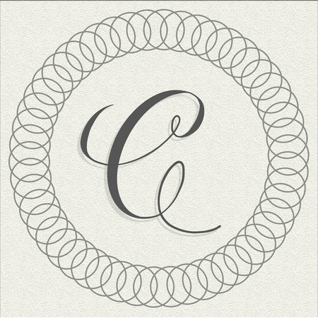 Capital letter C calligraphy on textured paper illustration for branding and packaging Stock Photo
