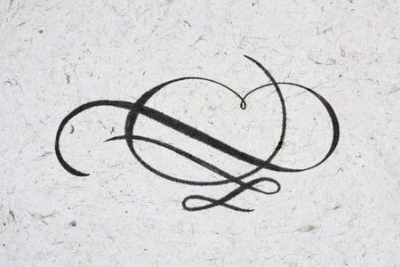 Vintage elegant flourish - ink on kraft paper Standard-Bild - 117627607