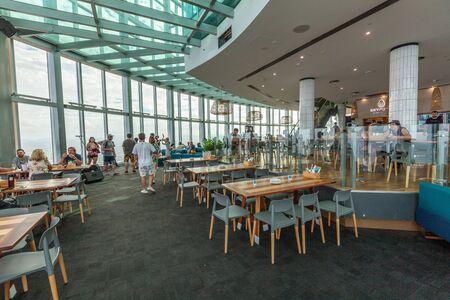 Gold Coast, Australia - January 6, 2019: cafe inside the viewing area on level 77