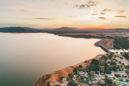 Lake Hume Dam and coastline at dusk - aerial landscape