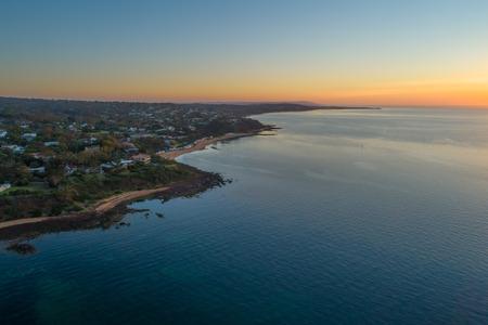 Aerial view of Mount Eliza coastline and dusk. Mornington Peninsula, Victoria, Australia