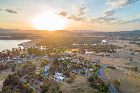 Lake Hume Village at sunset - aerial view. New South Wales, Australia