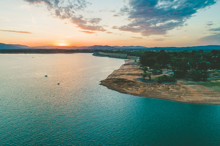 Lake Hume Dam at dusk - aerial landscape with copy space