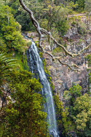 Morans Falls - beautiful tall waterfall in Lamington National Park, Queensland, Australia