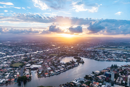 Gold Coast and Nerang river at sunset - aerial view Stok Fotoğraf
