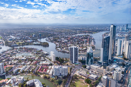 Aerial view of Gold Coast city and Nerang river